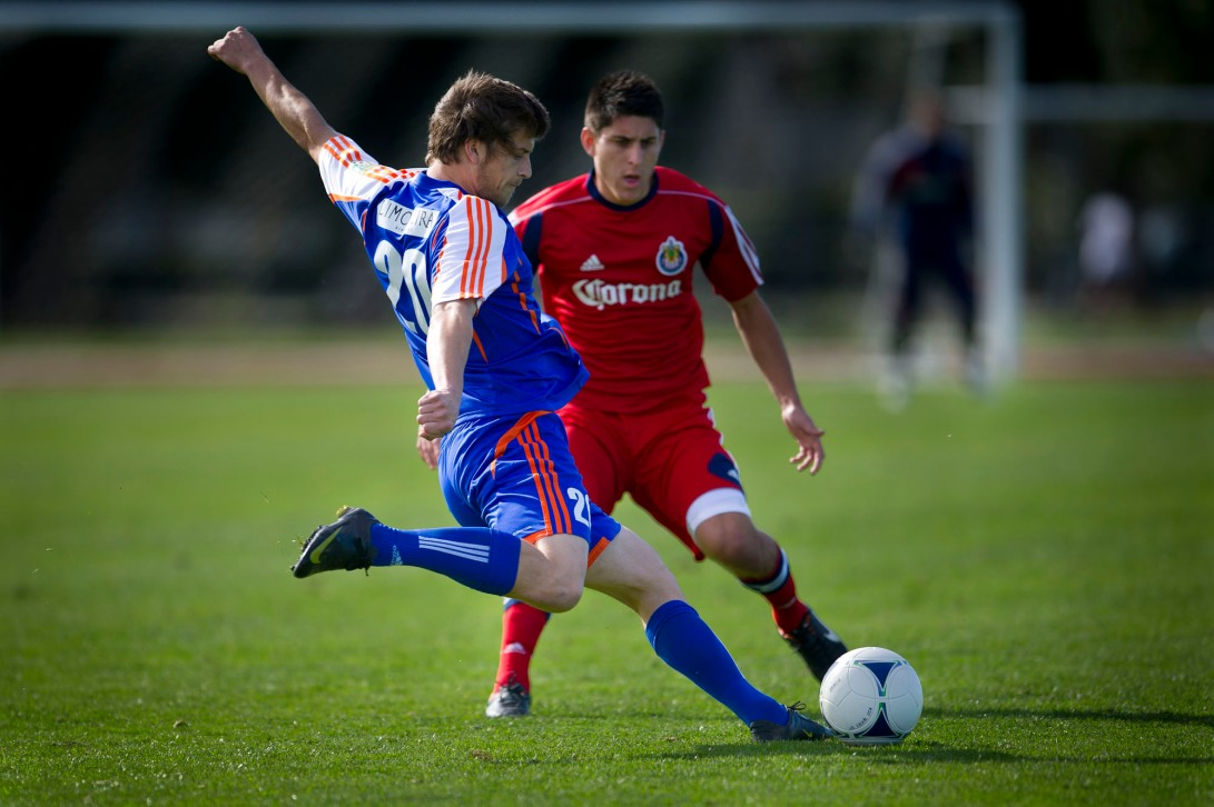 Ventura Fusion and Chivas USA play a pre-season soccer game at Oxnard College on Friday January 27, 2011.